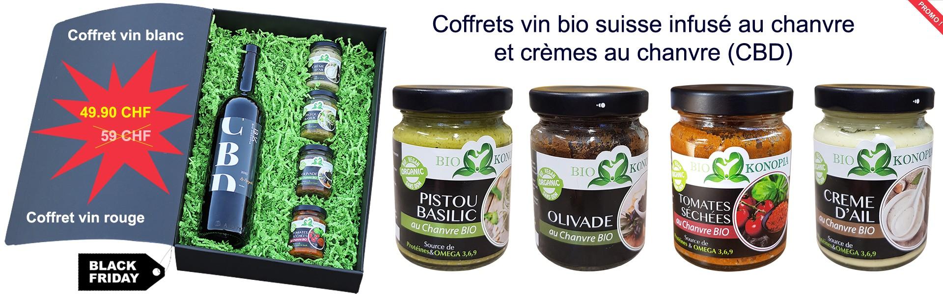 Coffrets vin bio suisse infusé au chanvre et crèmes au chanvre (CBD)