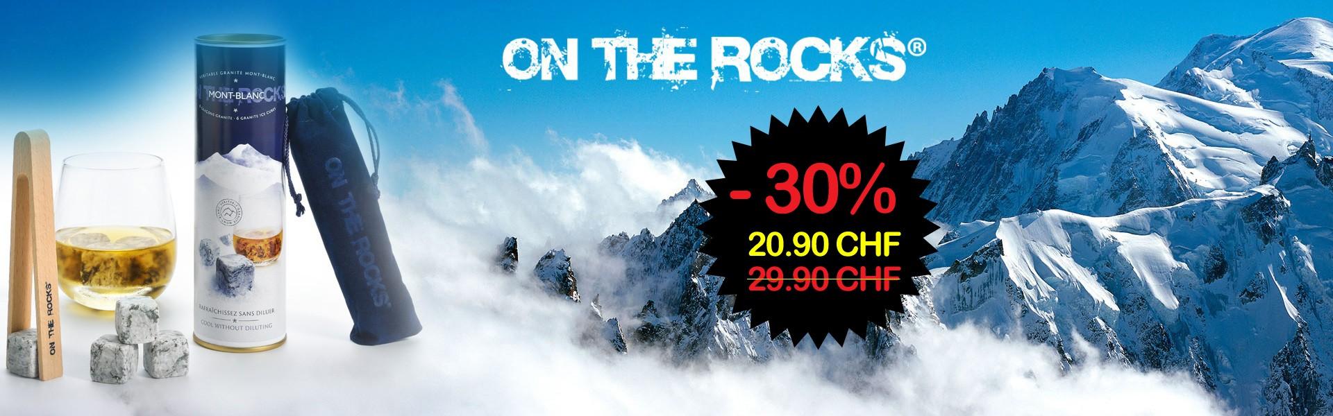 6 glaçons en granit du Mont Blanc